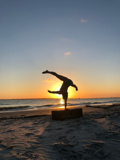 Beach Sunset One Arm Handstand
